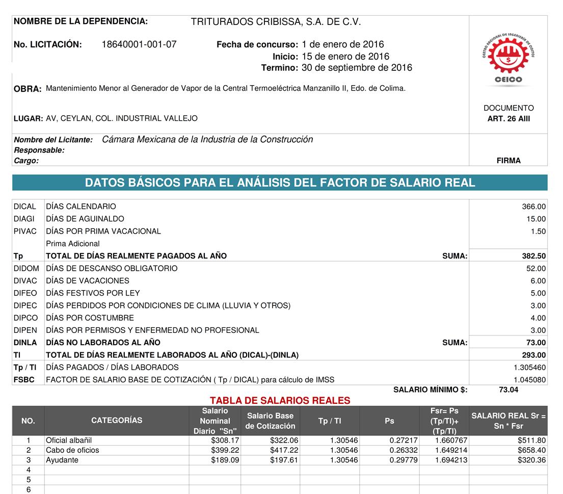 Tabulador de construccion 2016 tabulador construccion for Precios mano de obra construccion 2016 espana